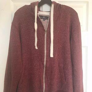 Sunday Work Clothes NYC maroon zip up hoodie M